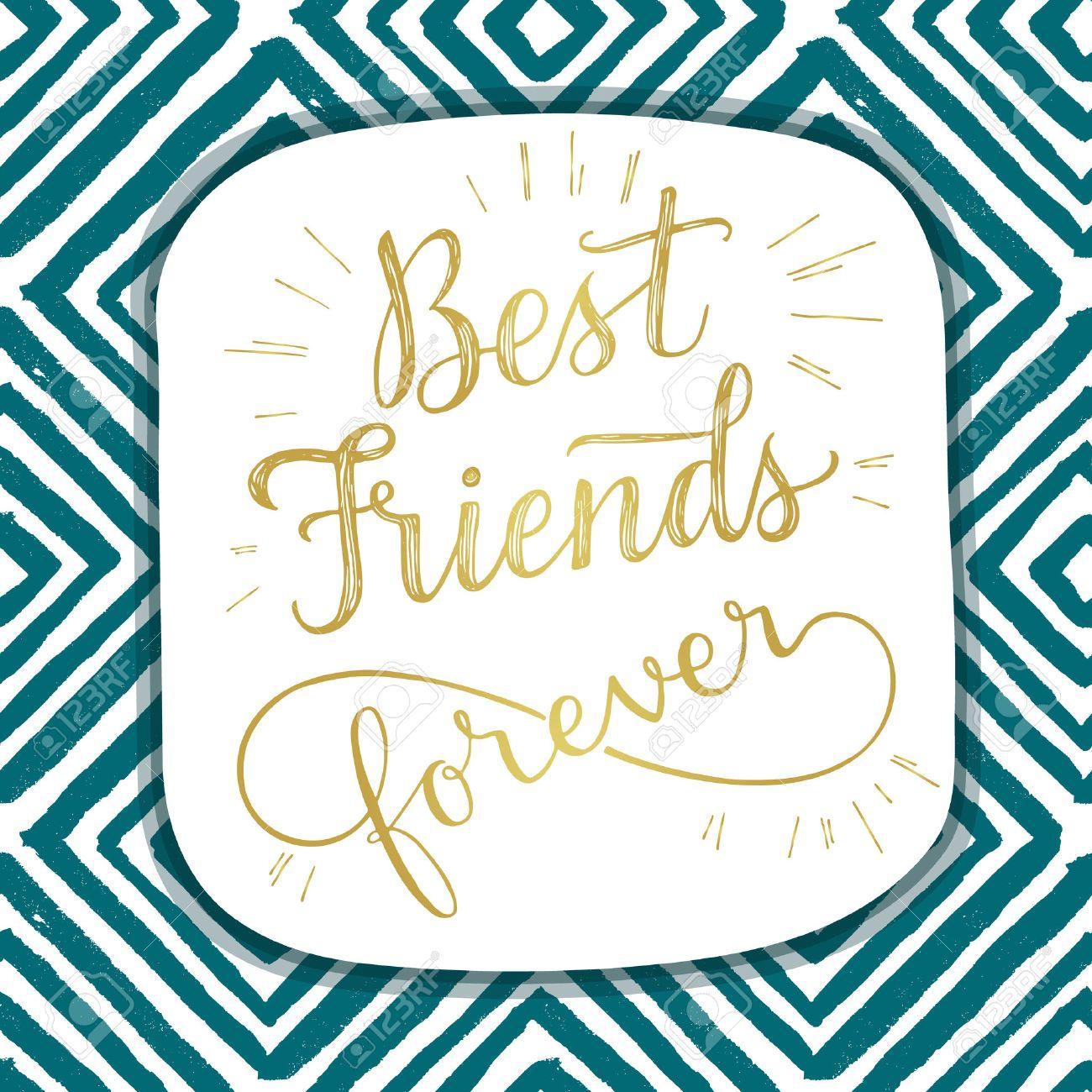 Best Friend Forever Hand Lettering Phrase Vector Illustration