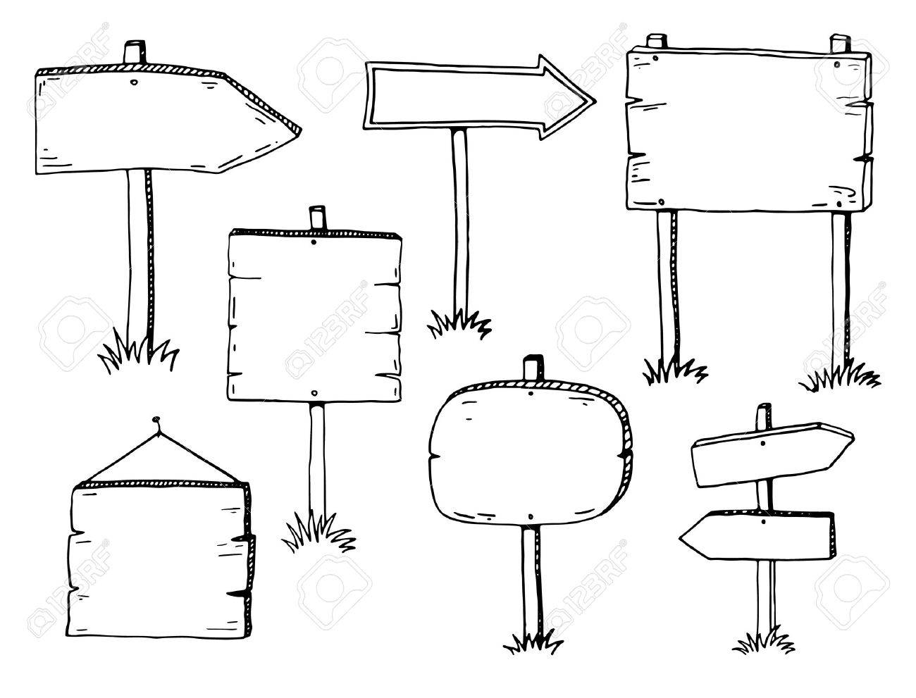 Hand drawn doodle wood signs and arrows - 50076282