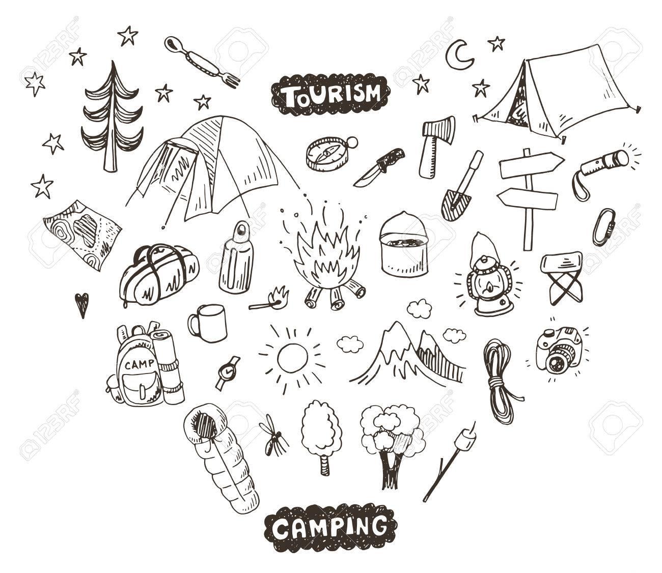 Hand drawn sketch camping icons set. - 50076284