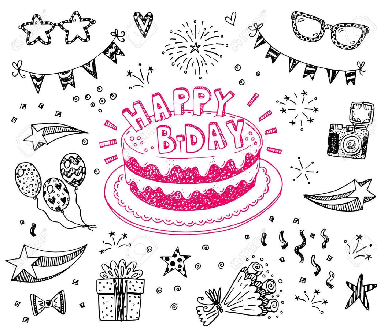 Feliz Cumpleanos Dibujado A Mano Conjunto De Dibujos Con La Torta