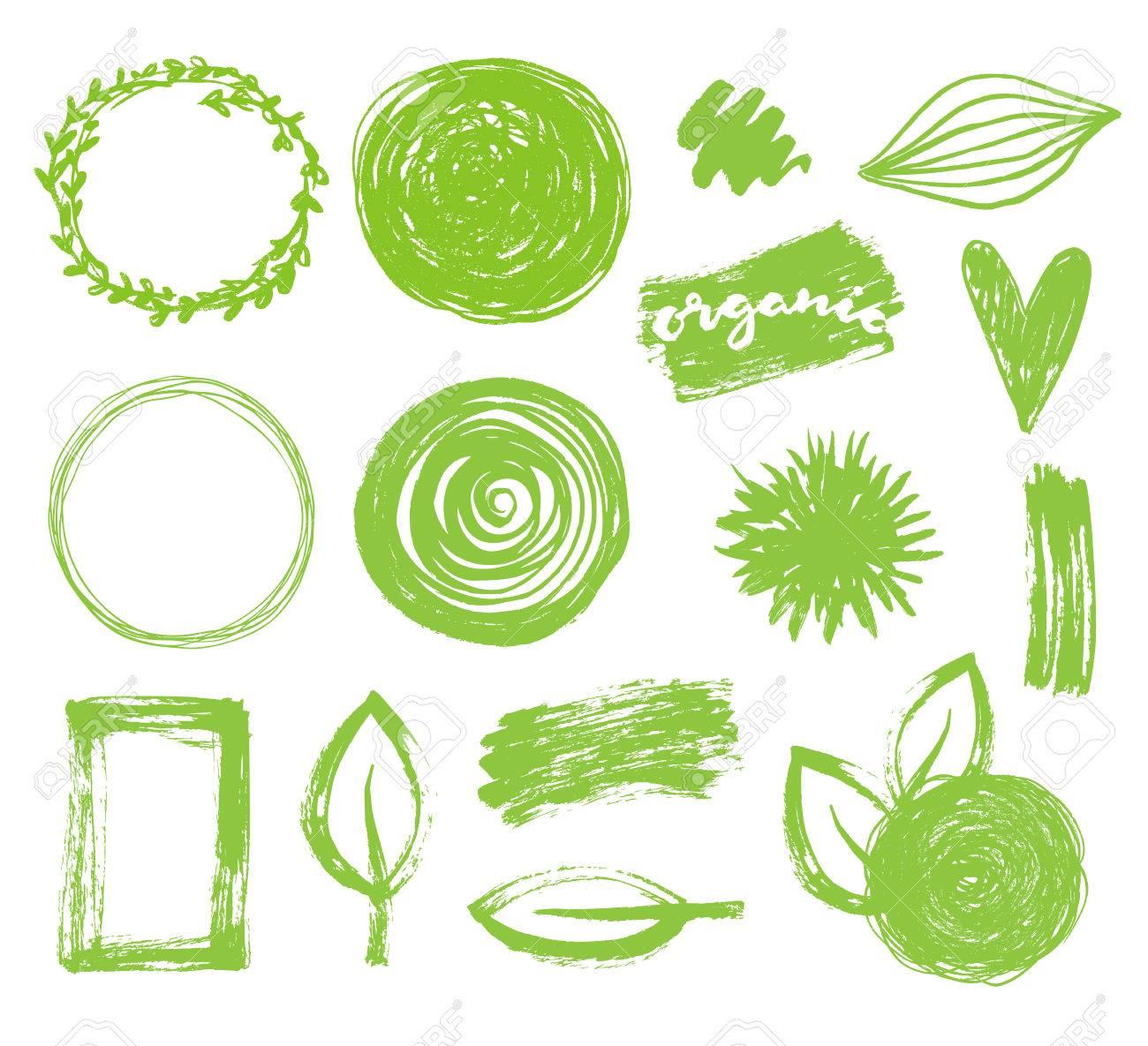 Hand Drawn Vector Green Frames Set. Eco, Bio, Organic Logo Design ...