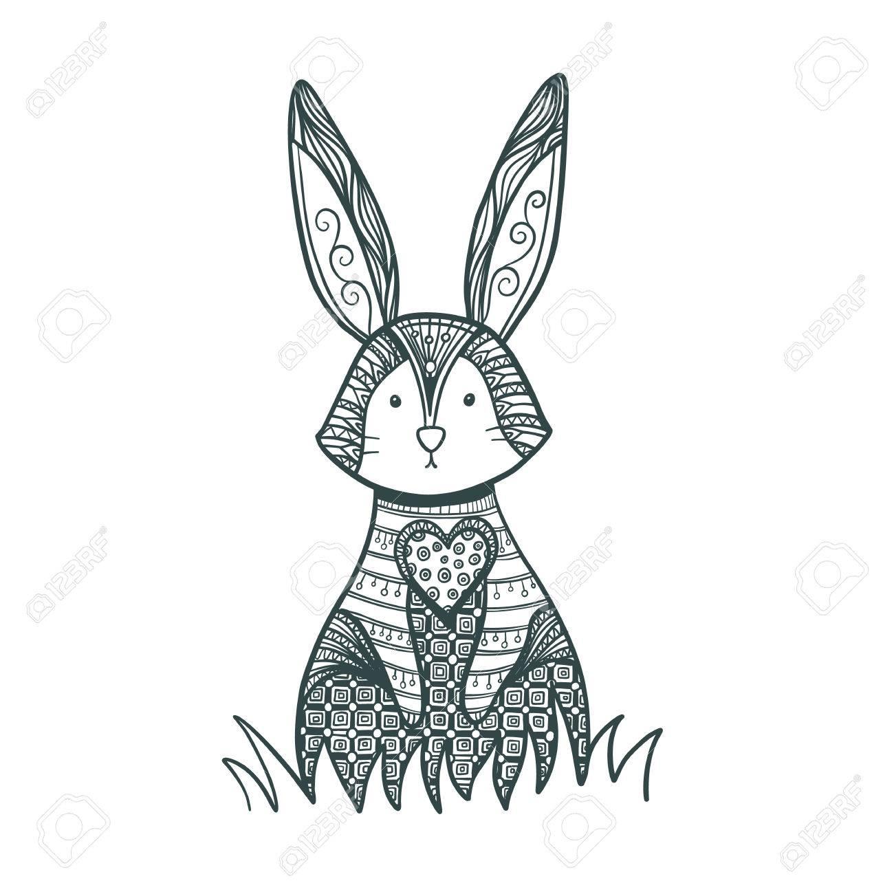 Zeichnung Kaninchen Für Malvorlagen. Dekorative Kaninchen, Osterhase ...