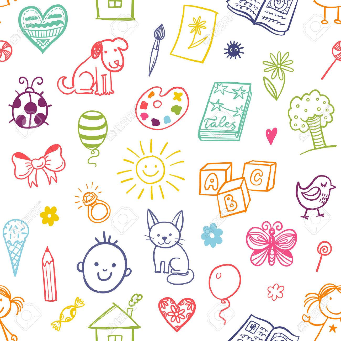 Seamless pattern with doodle children drawing. - 53301547