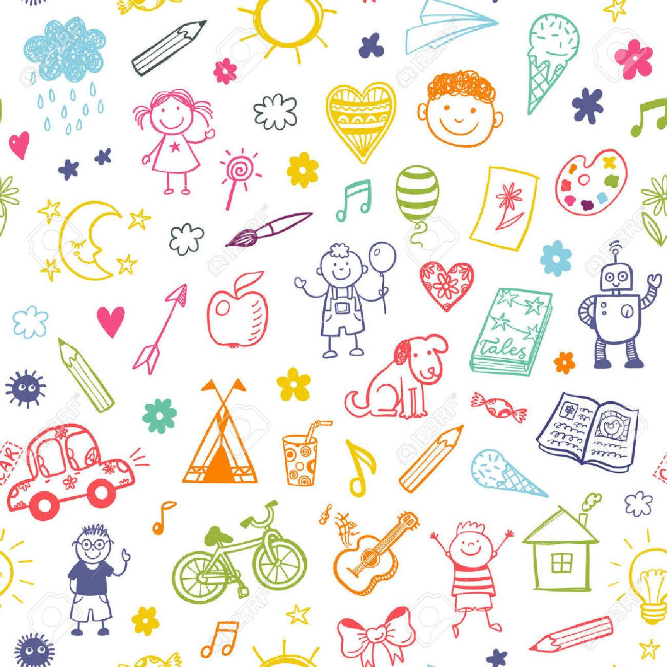 Seamless pattern with doodle children drawing. - 54268597