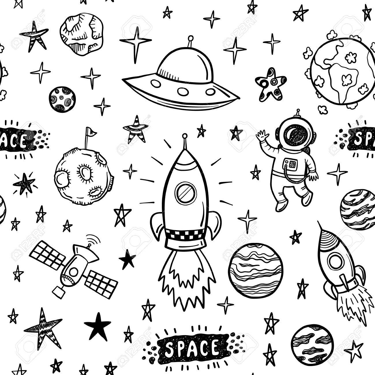 doodle space seamless pattern - 54335199