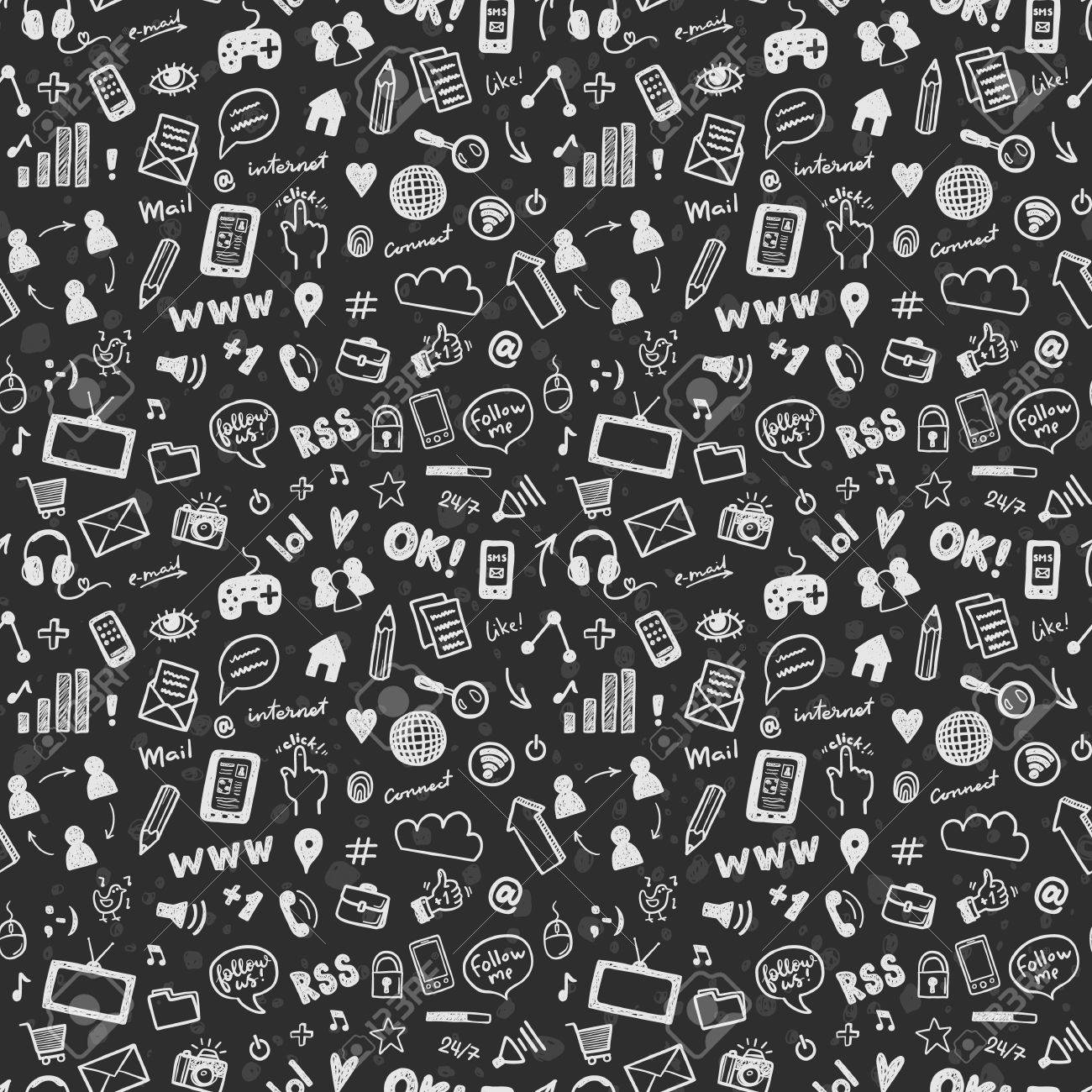 Social Media Sketch Vector Seamless Patern Doodle Chalk Drawing Background Stock