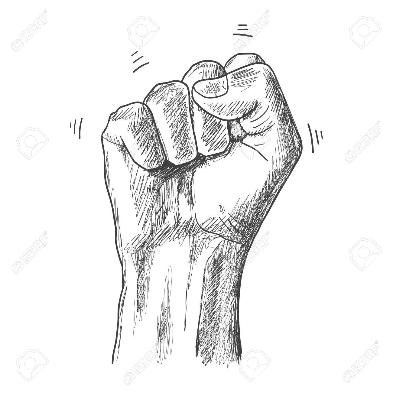 Sketch drawing fist hand gesture stock vector 55687435