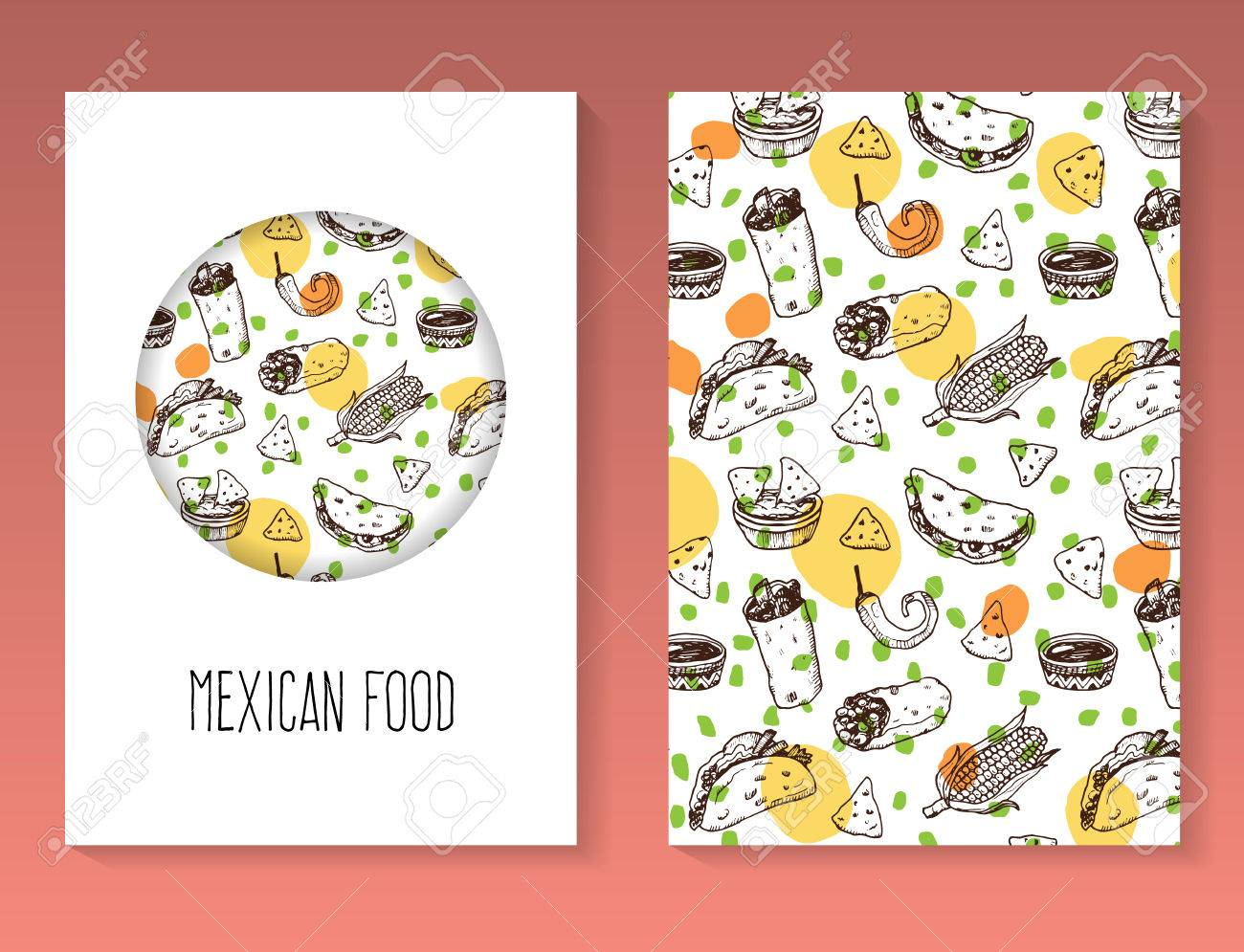 hand drawn mexican food brochure template vector background royalty