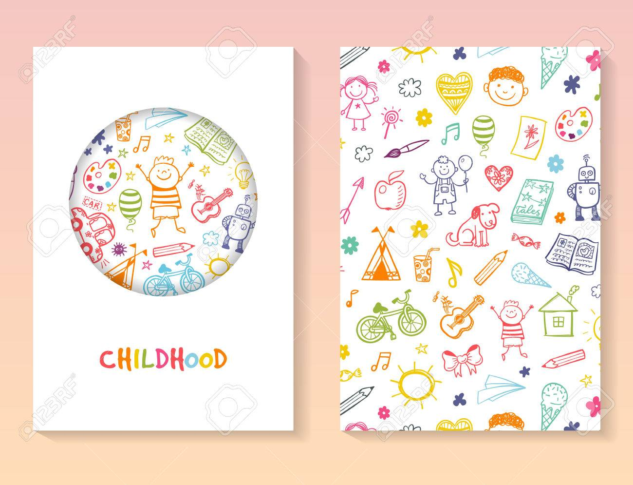 Brochure Vector Template With Doodle Children Drawing ...