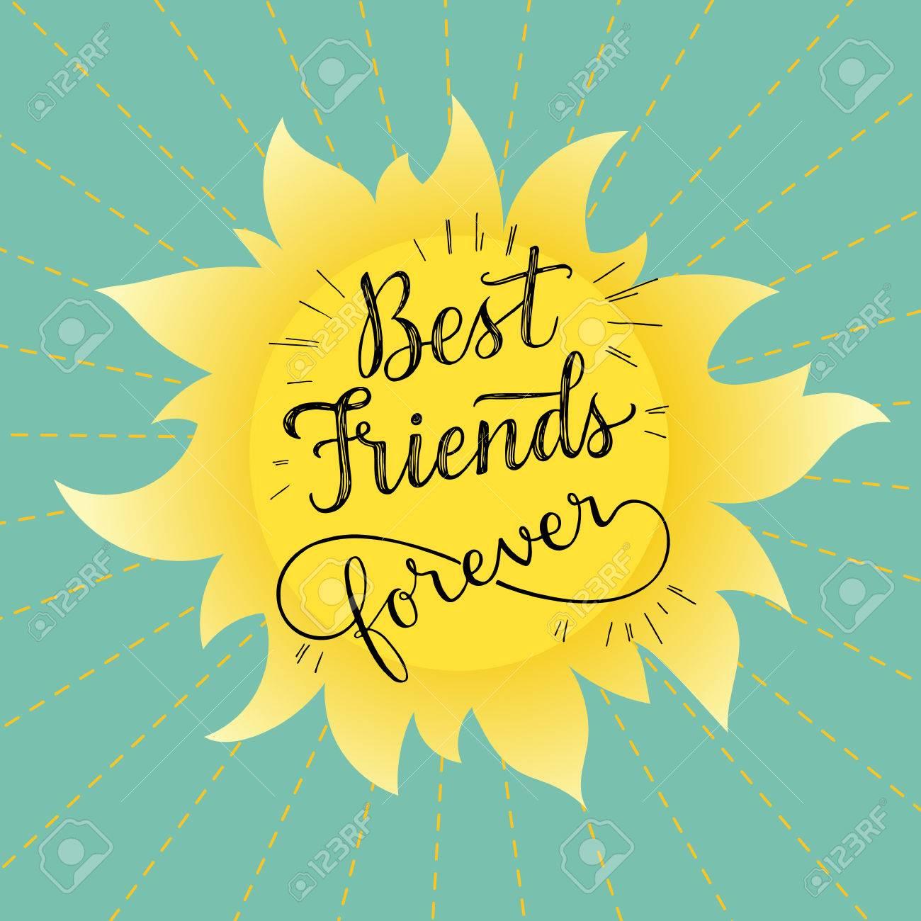 Mejores Amigos Para Siempre Ilustración Vectorial Mano Frase Letras Retro Tarjeta De Felicitación Para El Día De La Amistad