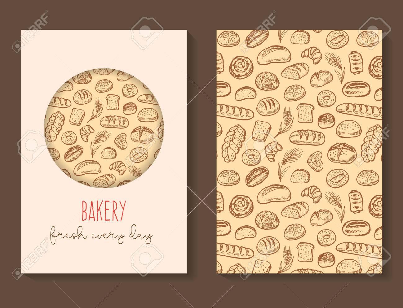 Griffonnages De Boulangerie Brochure Vecteur Modele Carte Visite