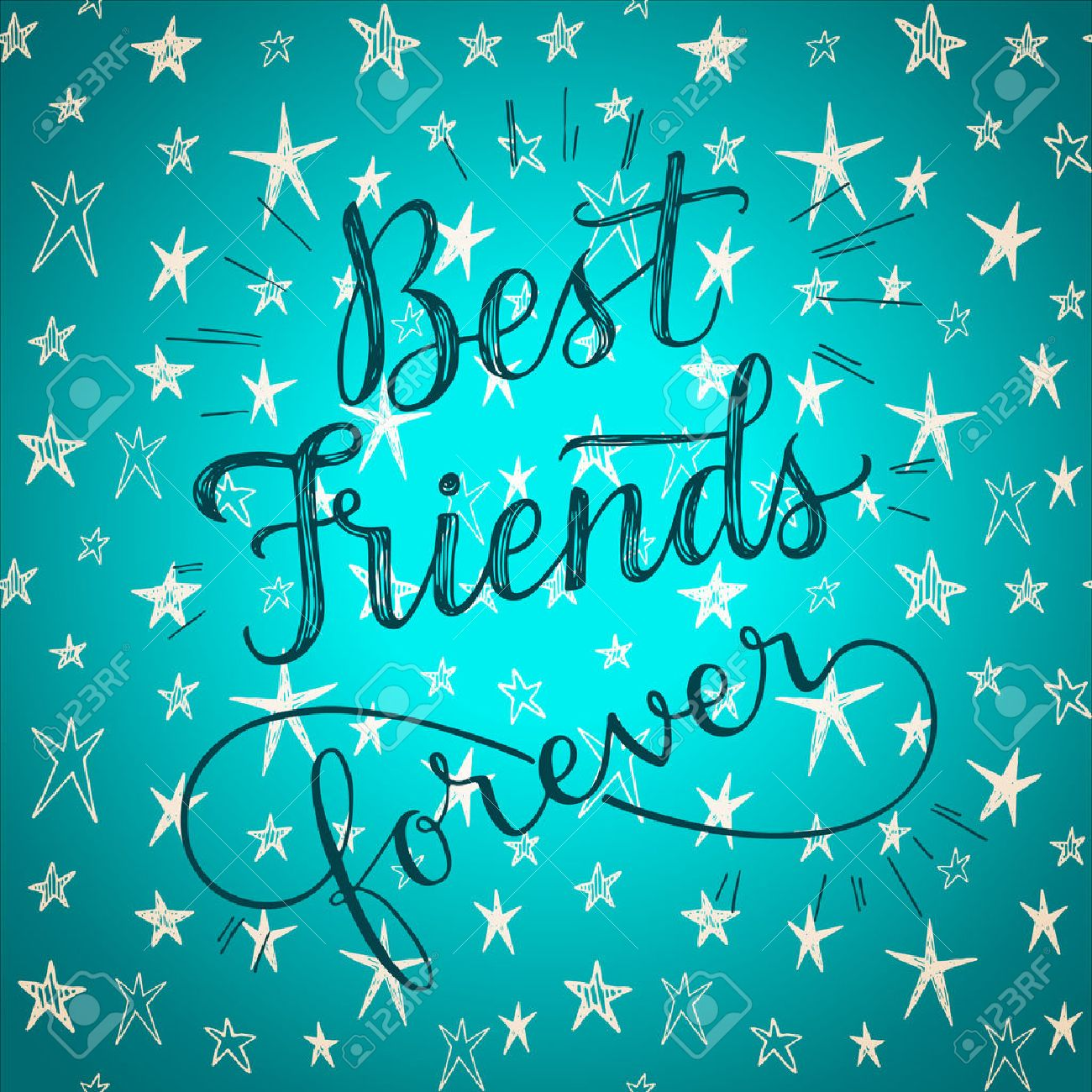 Best Friends Forever Hand Drawn Phrase On A Cute Stars Vector