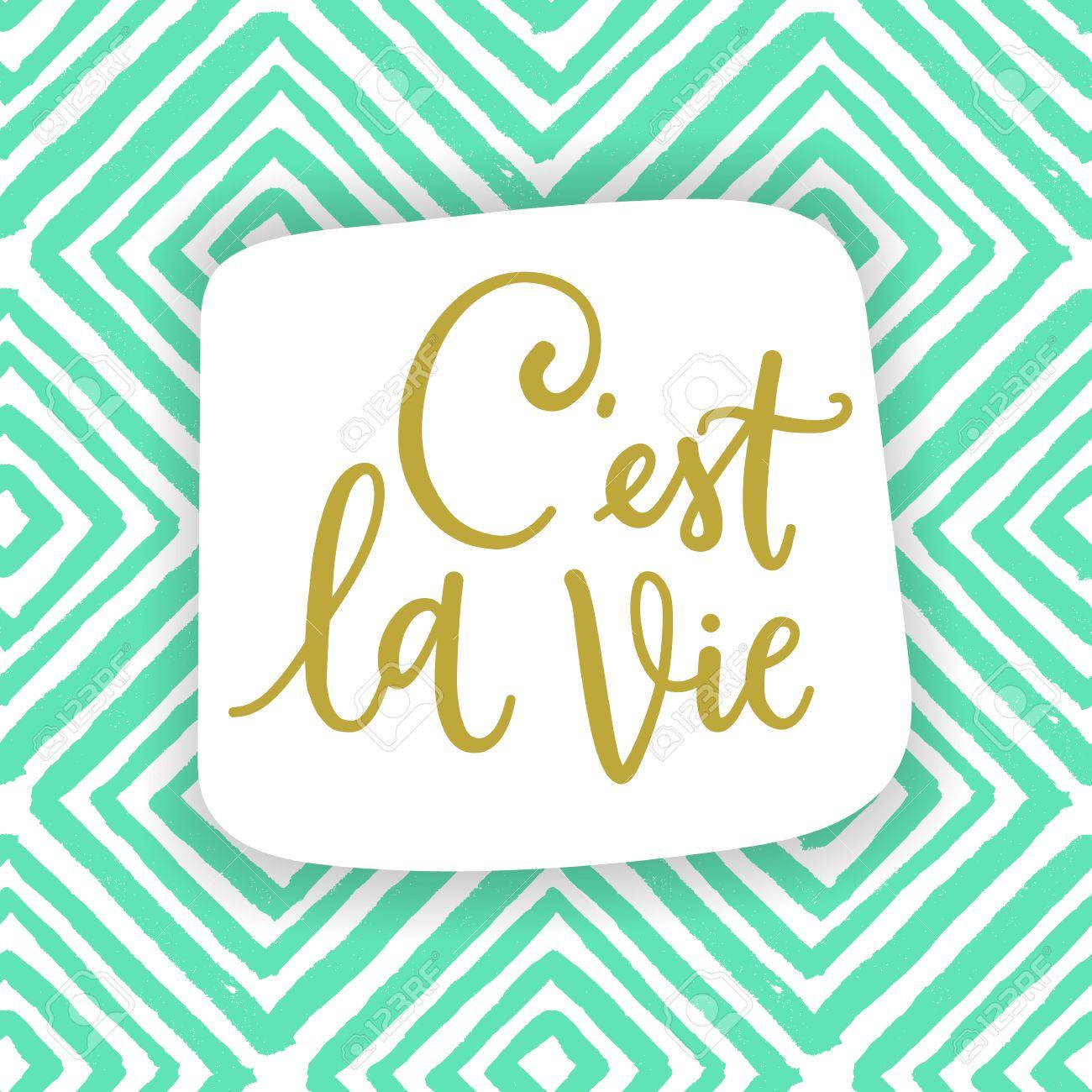 Así Es La Vida Frase En Francés Quiere Decir Que Es La Vida Llamar La Cotización Caligráfico Para La Ropa De Moda Y Tarjetas