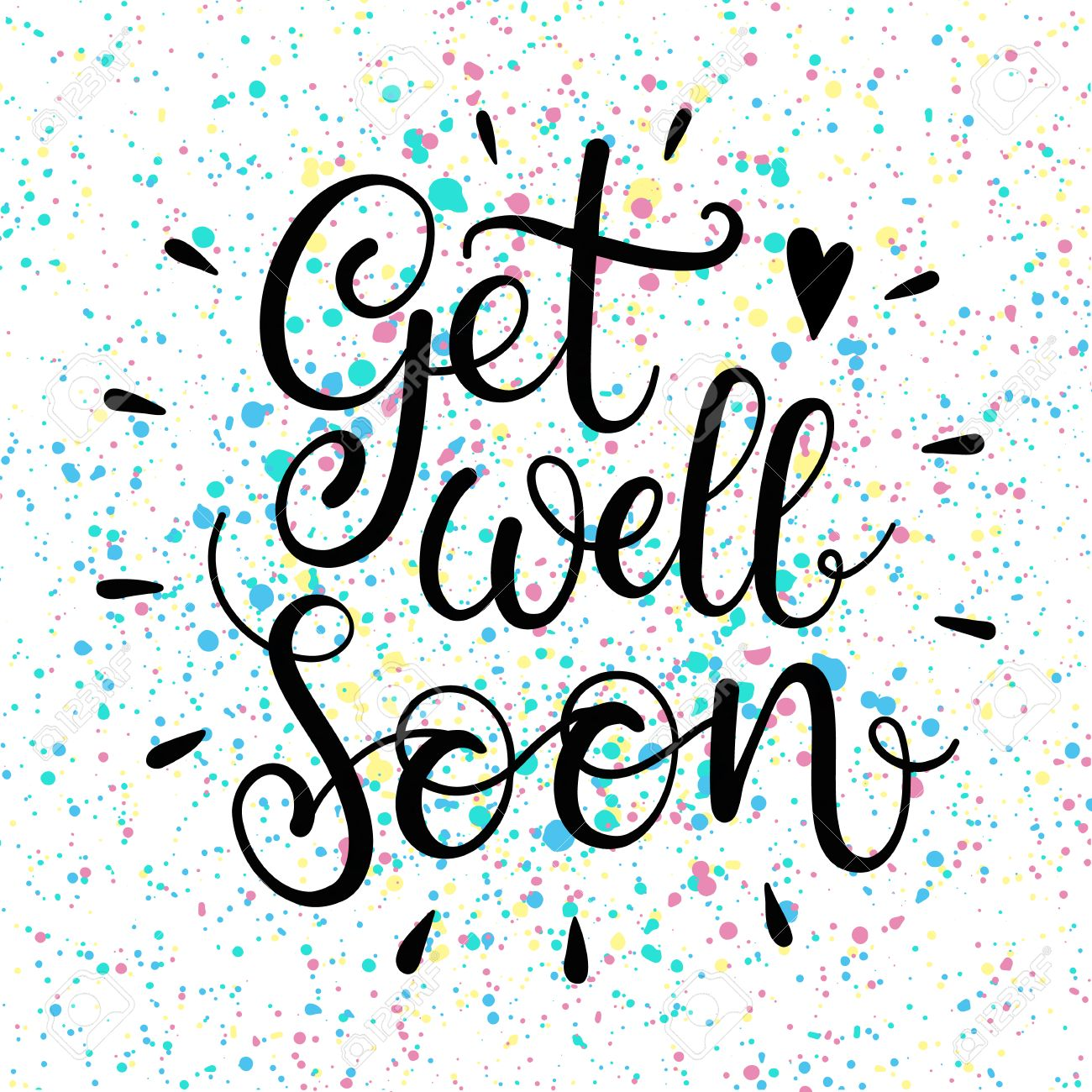 get well soon text lettering for invitation and greeting card