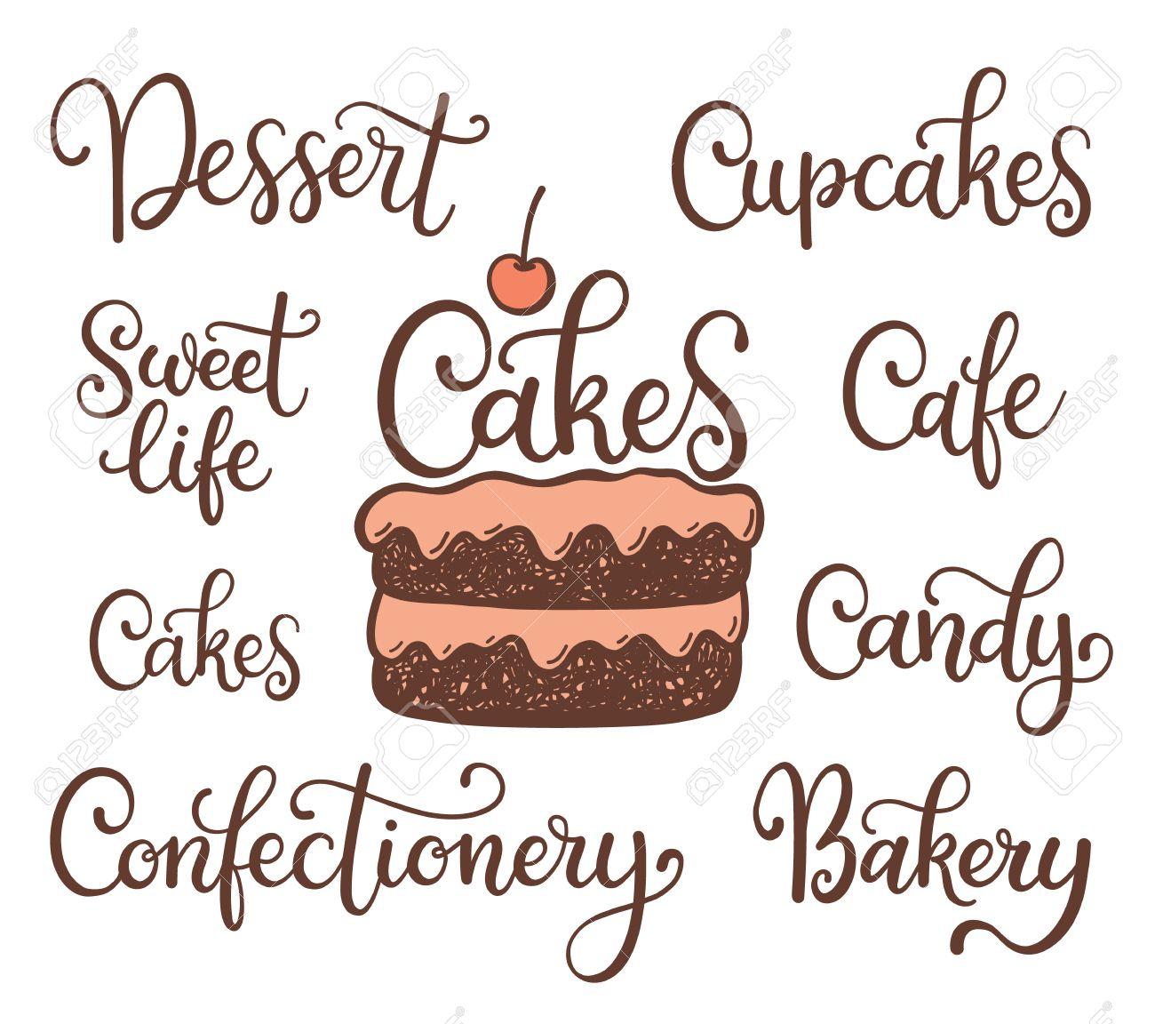 sports shoes 4334c 42123 Illustation torta e la scritta: dolce, dolce vita, caffè, caramelle,  dolcetti, prodotti da forno, pasticceria, isolato su sfondo bianco. Può  essere ...