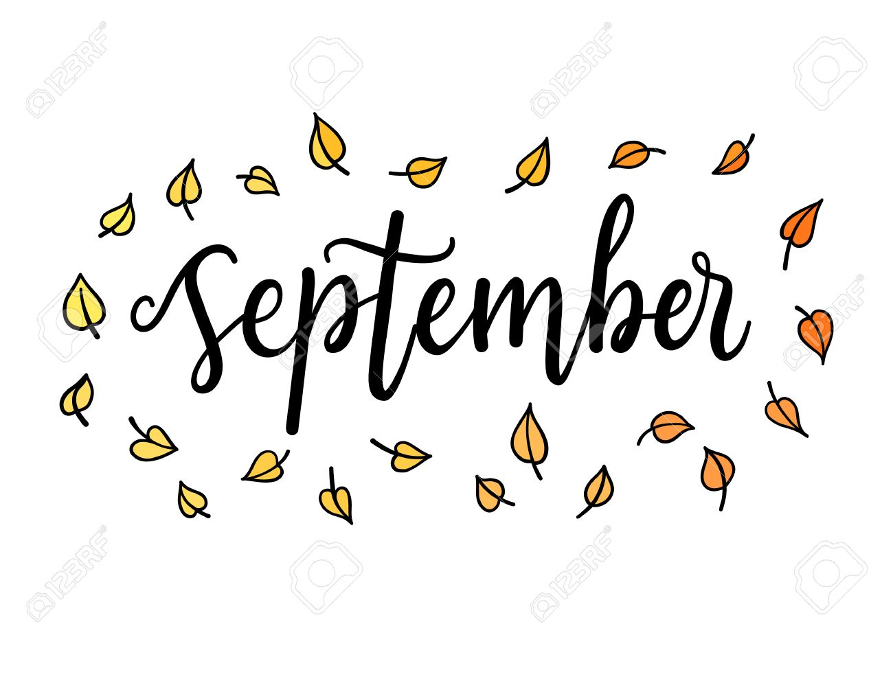 hello september lettering calligraphic word greeting card template typographic illustration with words about