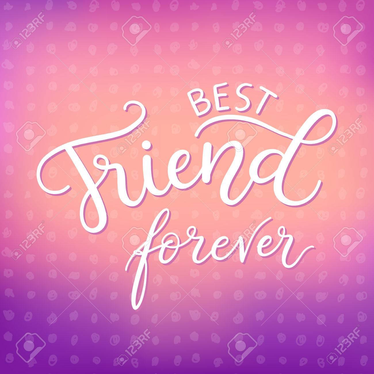 Best Friends Forever Fashion Print Design Modern Typographic – Friendship Card Template
