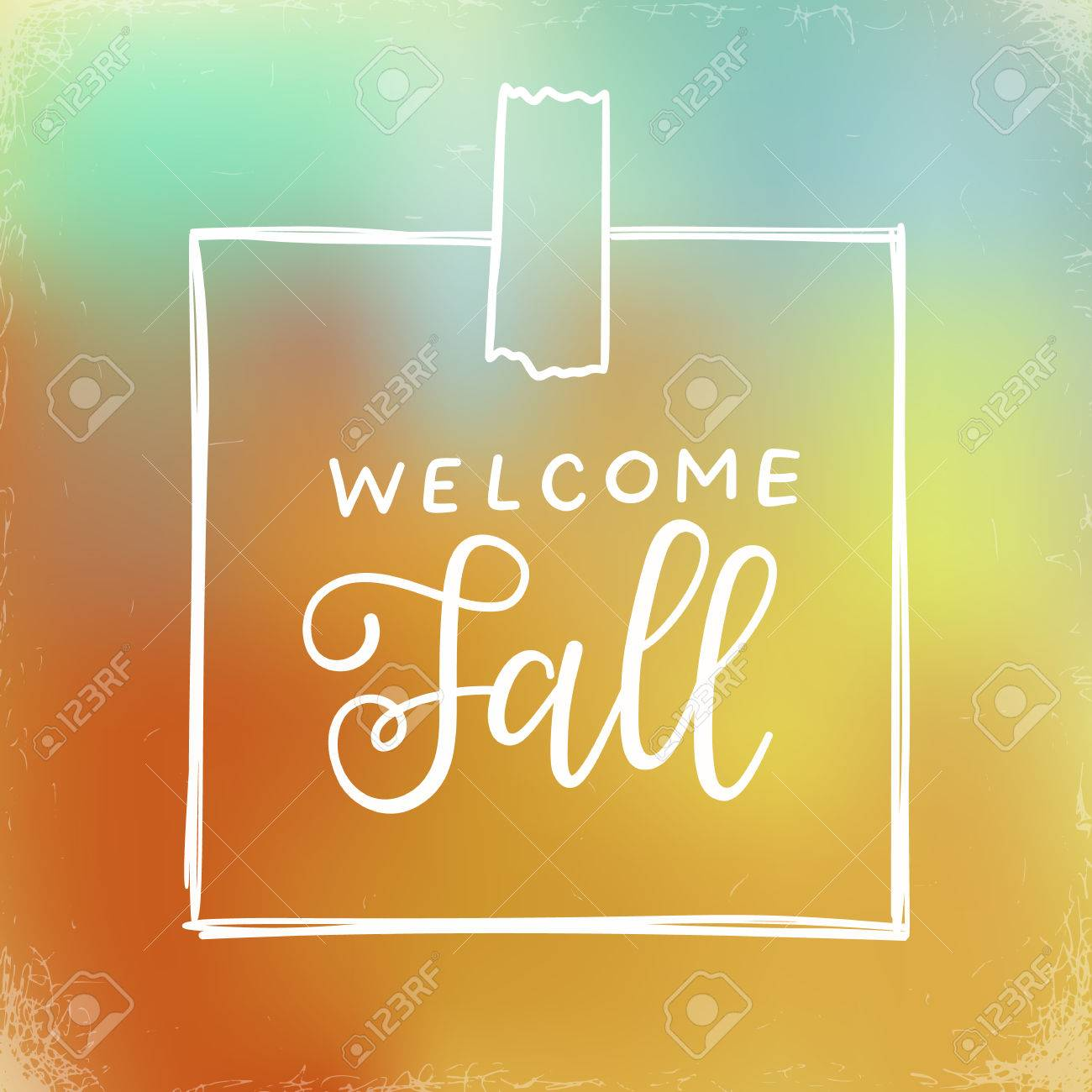 vector welcome fall hand lettering calligraphic word greeting card template vector typographic illustration with handwritten words about autumn on a