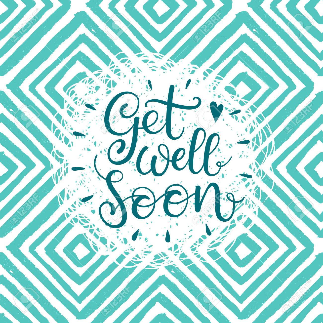 get well soon vector text hand lettering for invitation and greeting card prints and