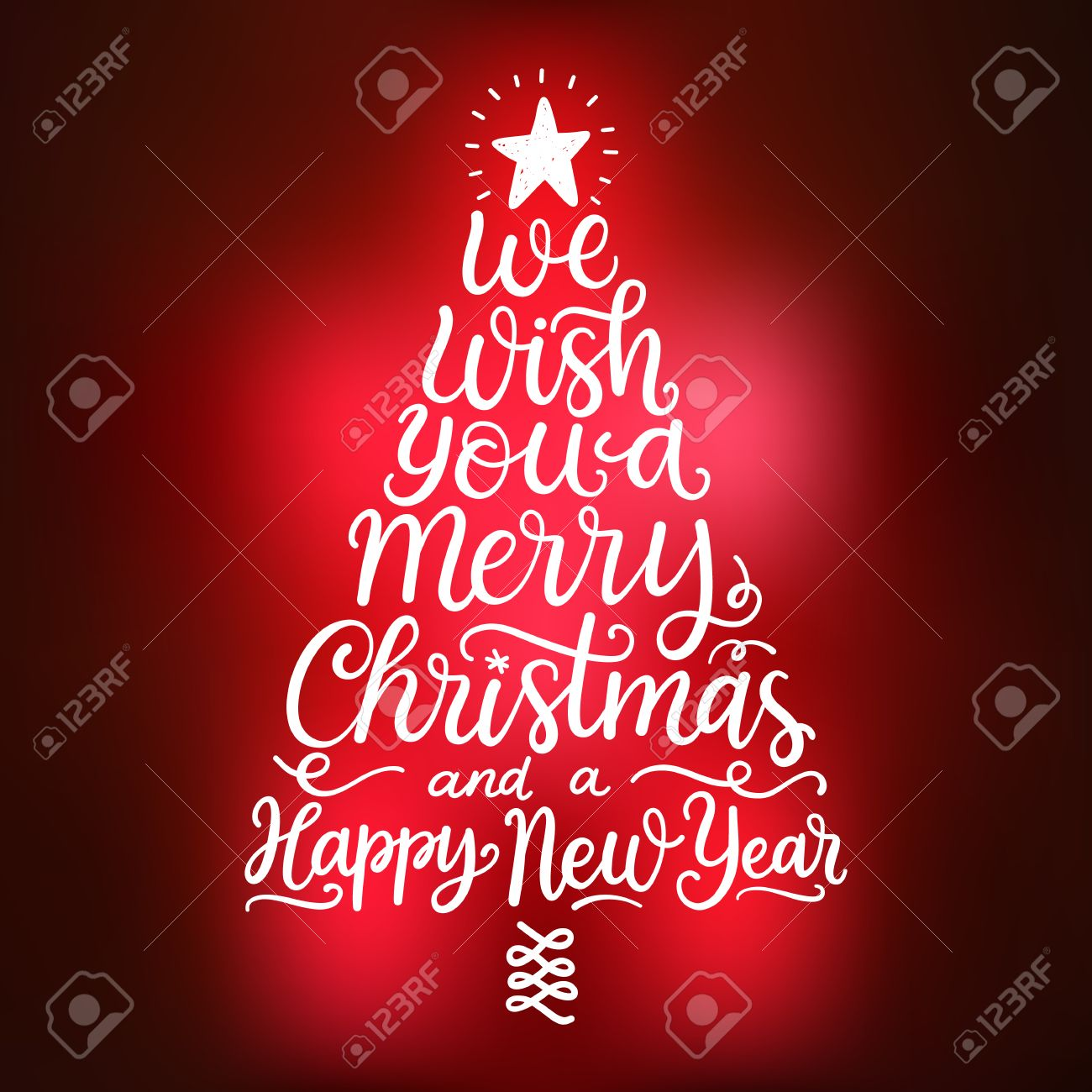 vector we wish you a merry christmas and a happy new year hand drawn lettering winter holidays greeting card