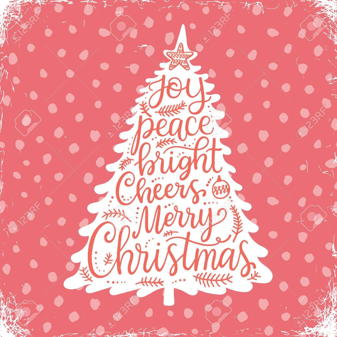 Merry Christmas Phrases Hand Lettering Greeting Card Royalty Free