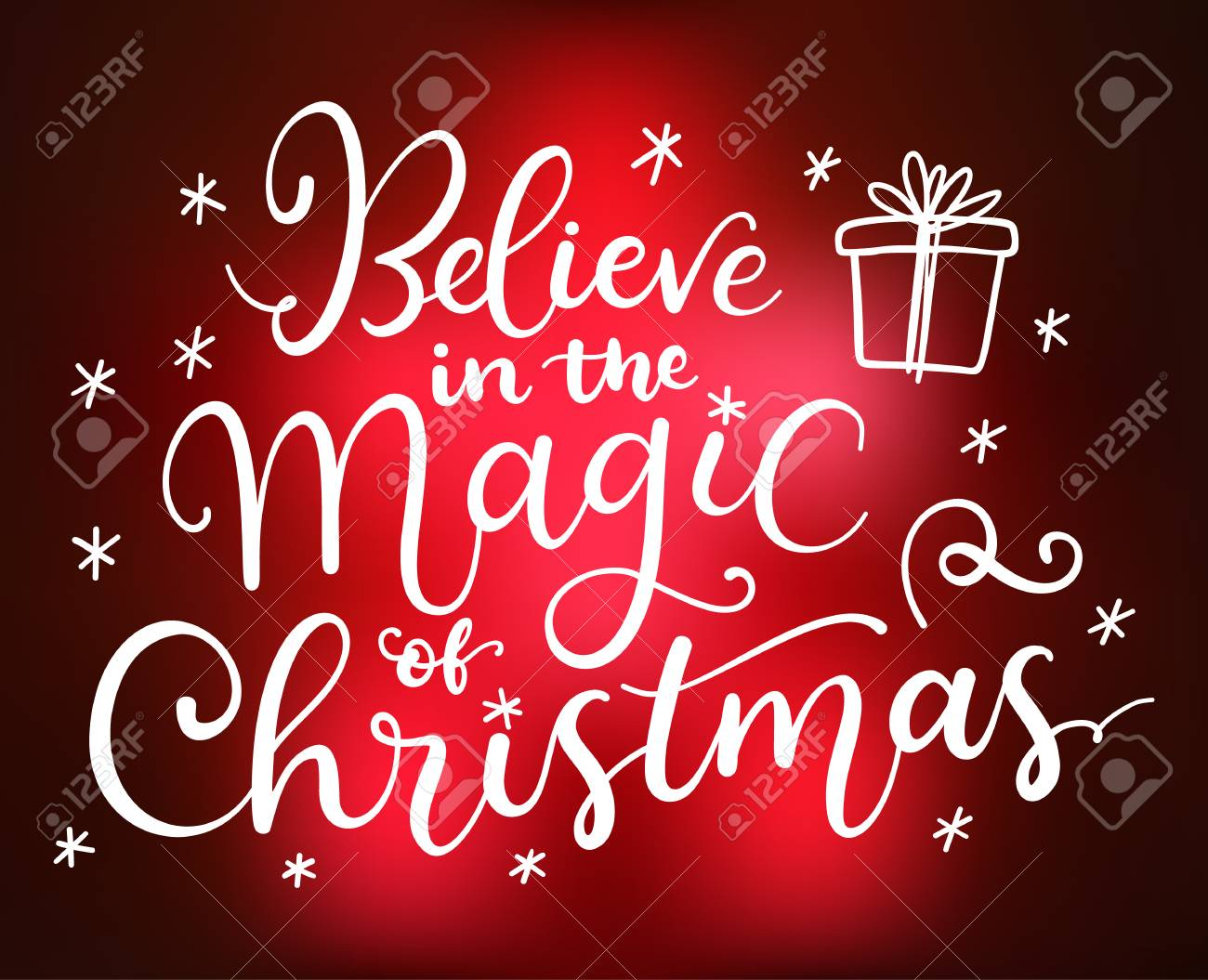Magic Of Christmas.Believe In The Magic Of Christmas Vector Greeting Card With