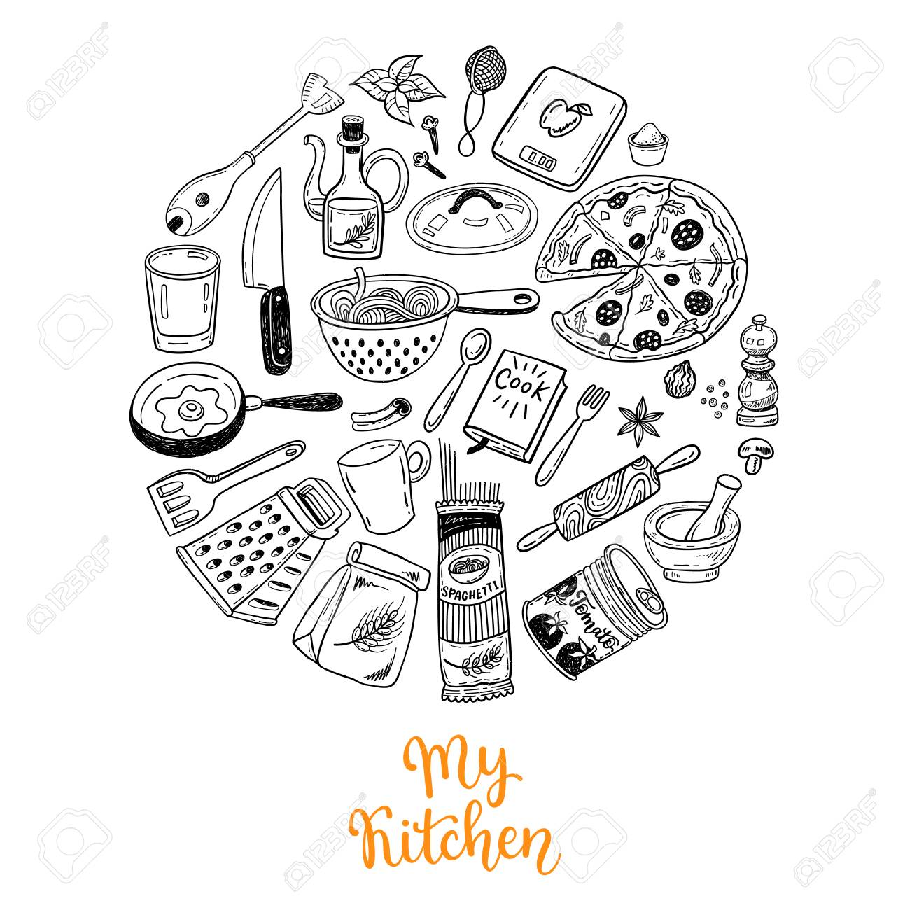 Vettoriale - Raccolta Di Scarabocchi Di Cucina. Decorazioni Da ...