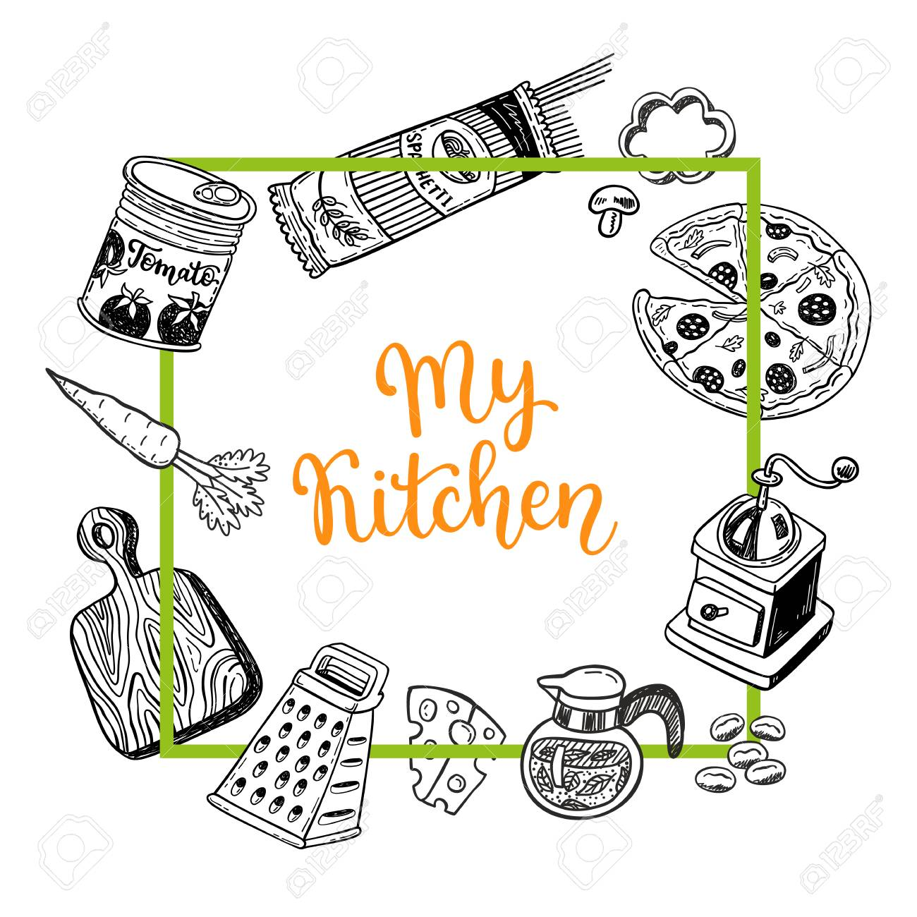 Page template set for notes or cooking recipe cards with hand page template set for notes or cooking recipe cards with hand drawn doodle food and kitchen forumfinder Choice Image