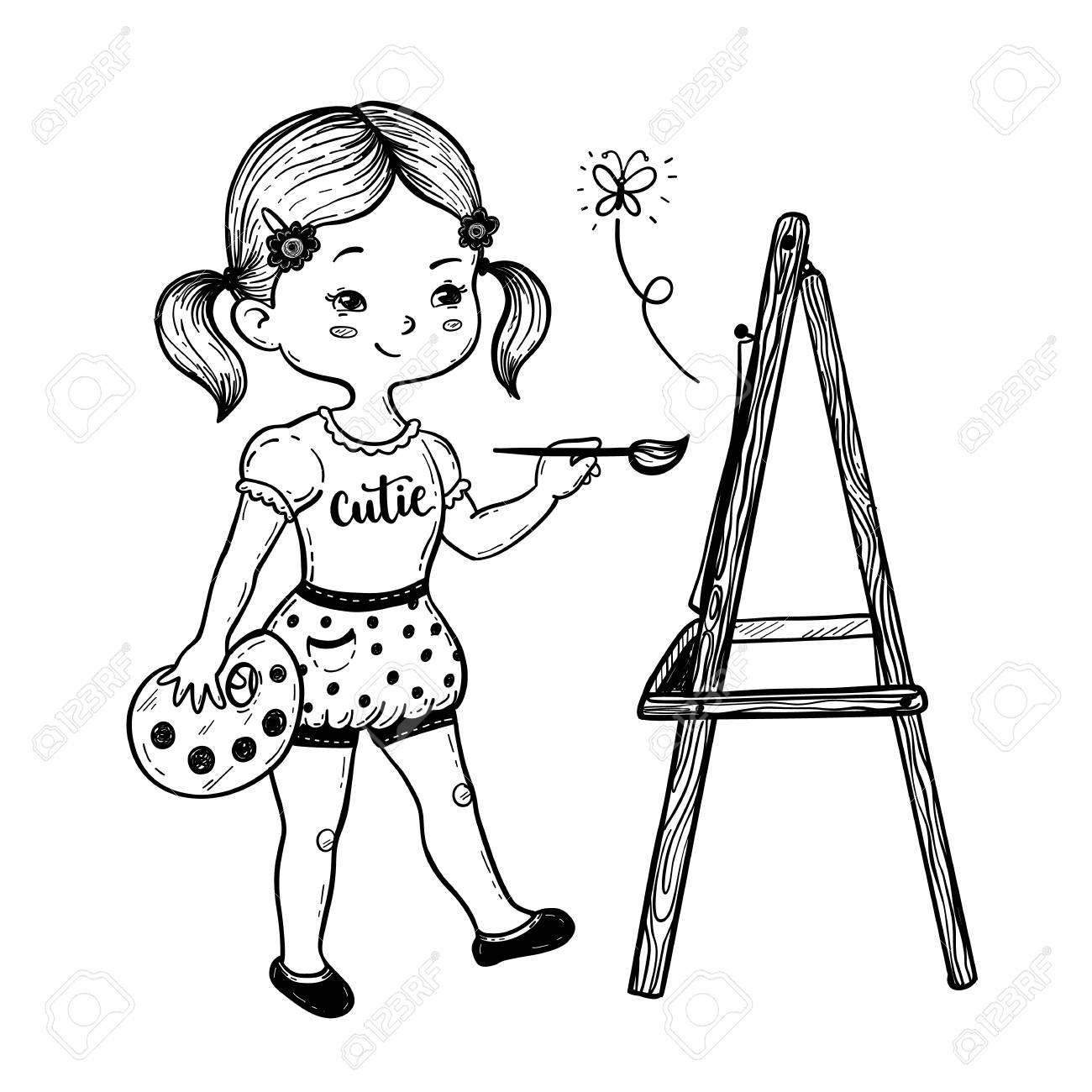 vector illustration of a cute little girl drawing behind an easel