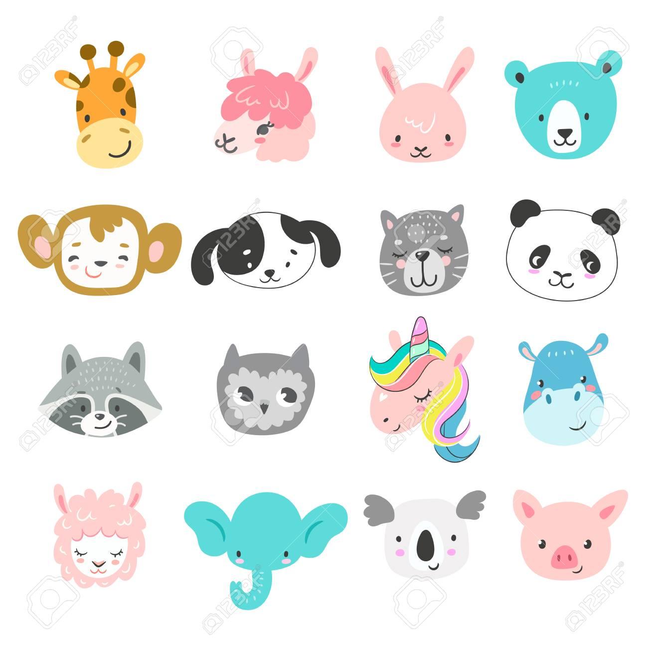 Set of cute hand drawn smiling animals characters. Cartoon zoo. Vector illustration. Giraffe, llama, bunny, bear, monkey, dog, cat, panda, raccoon, owl, unicorn, hippo, sheep, elephant, koala and pig - 93563284