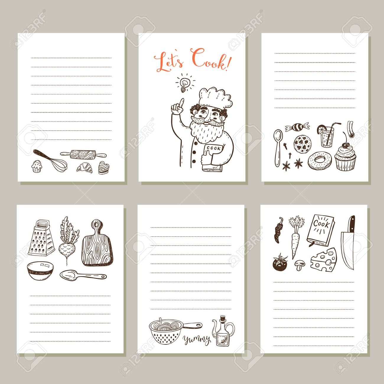 Page Template Set For Notes Or Cooking Recipe Cards With Hand