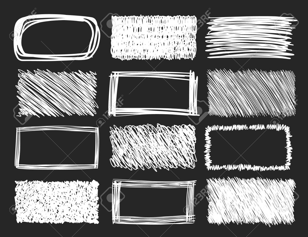 Set of hand drawn scribble frames on a blackboard background, vector design elements collection. - 112351182
