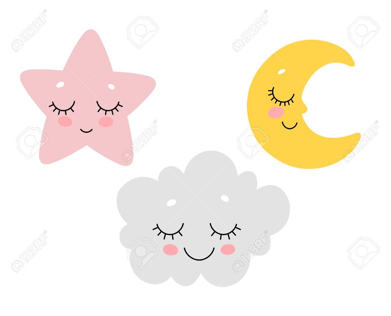 Vector illustration of cute sleeping cloud, moon and star. Scandinavian nursery print design. - 109652010