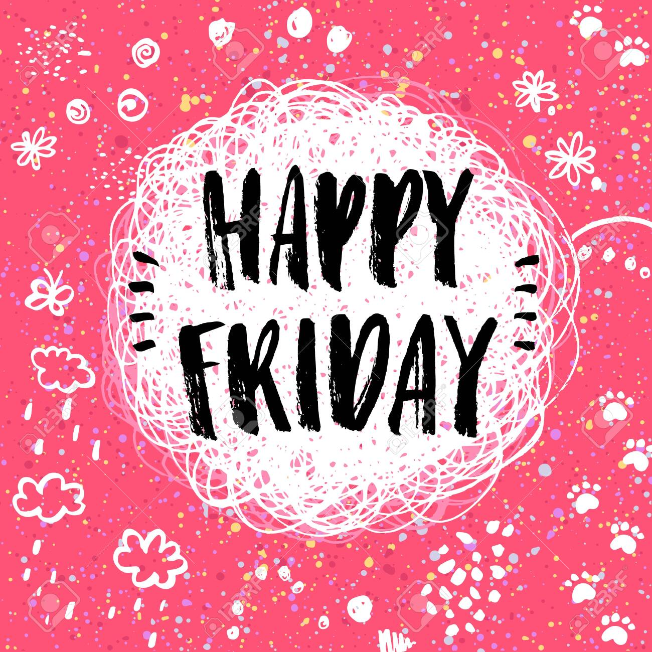 Happy Friday! hand drawn doodle lettering - 146982371