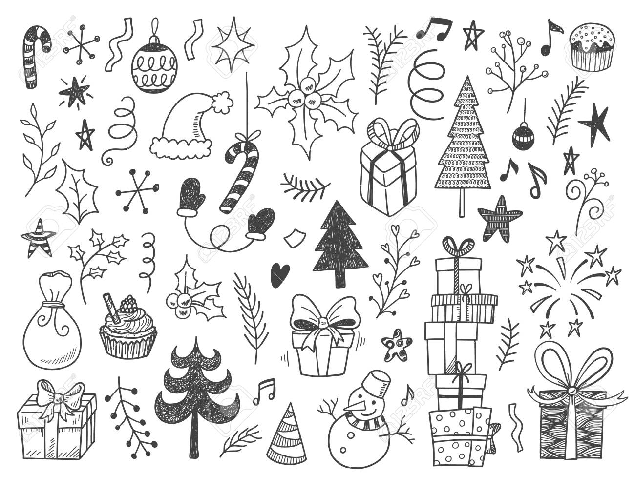 Hand drawn vector illustration set of New year and Christmas sign and symbol doodles elements. Pattern set with snowman, fir-trees, snowflakes, cakes, gift boxes. - 147000433