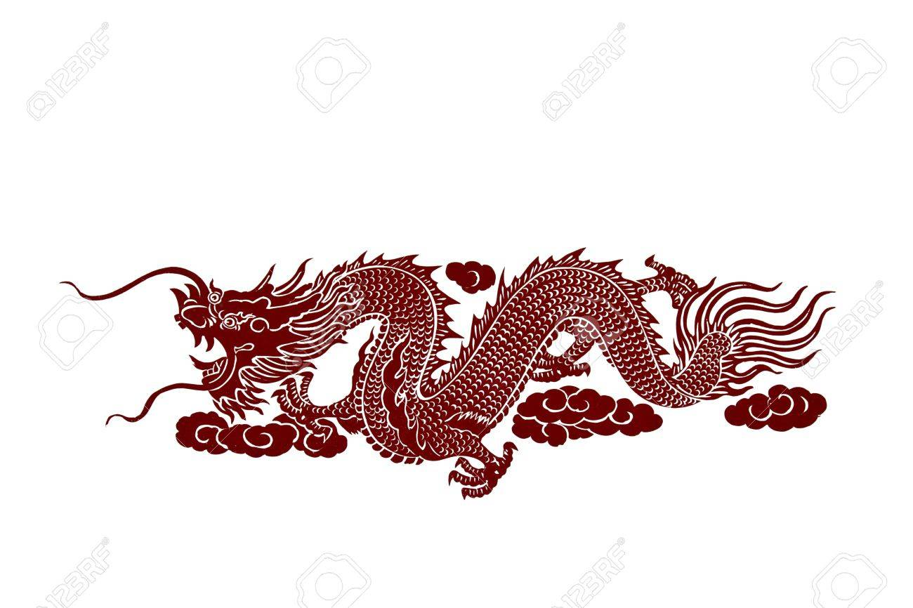 Isolated red dragon on white background - 10091795