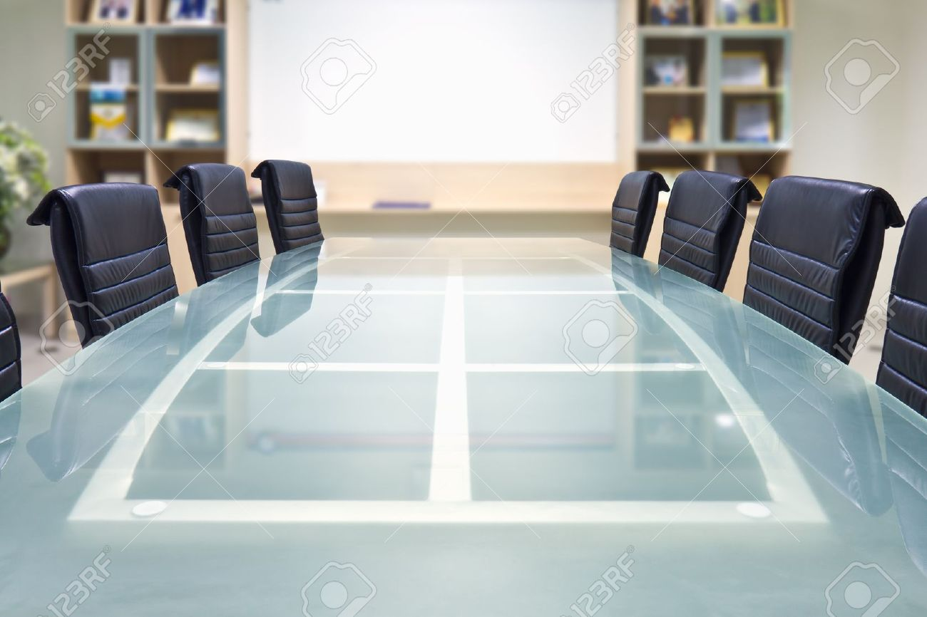 Meeting Room With Glass Top Table And Armchairs And White Board - Glass top conference room table