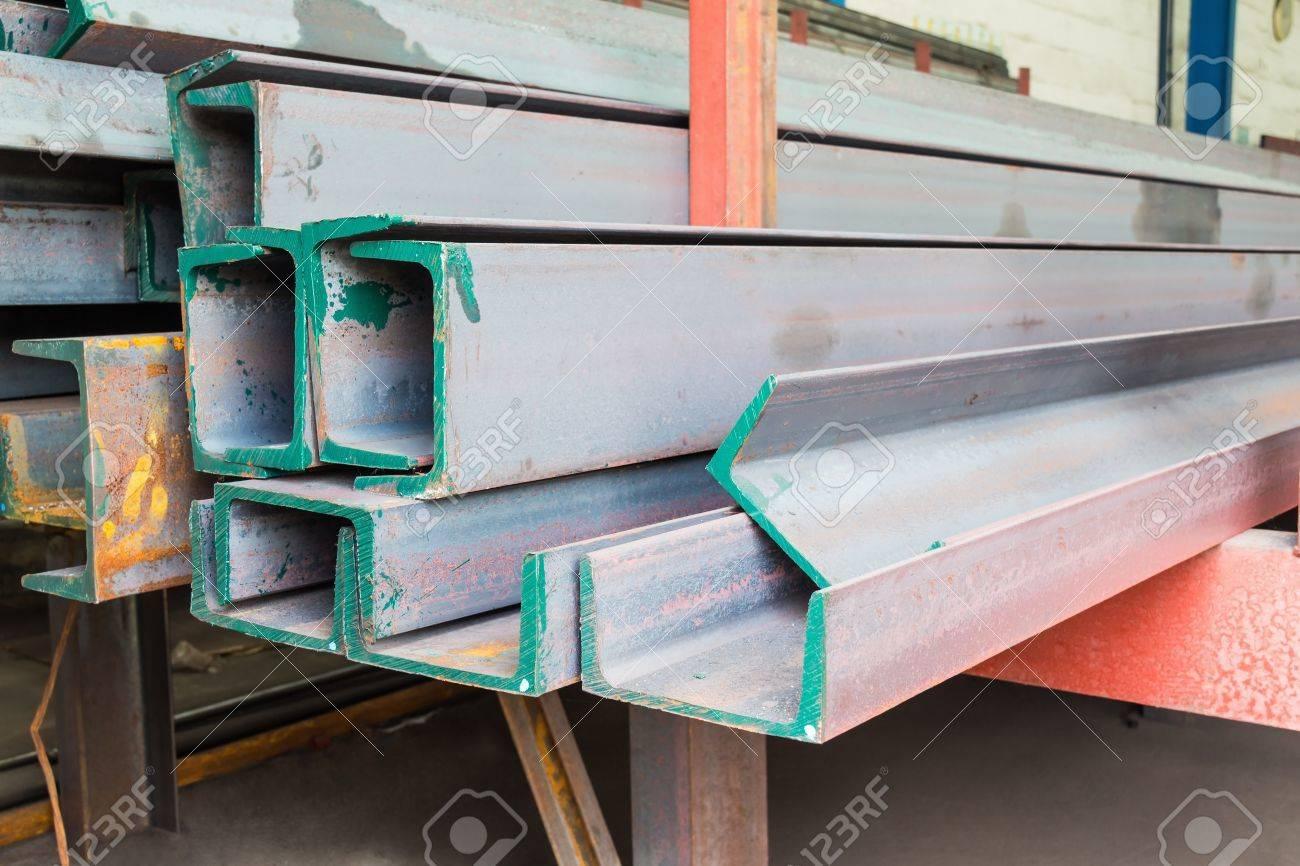 Heap of channel  u shape beam  steel in factory shelf Stock Photo - 18098091
