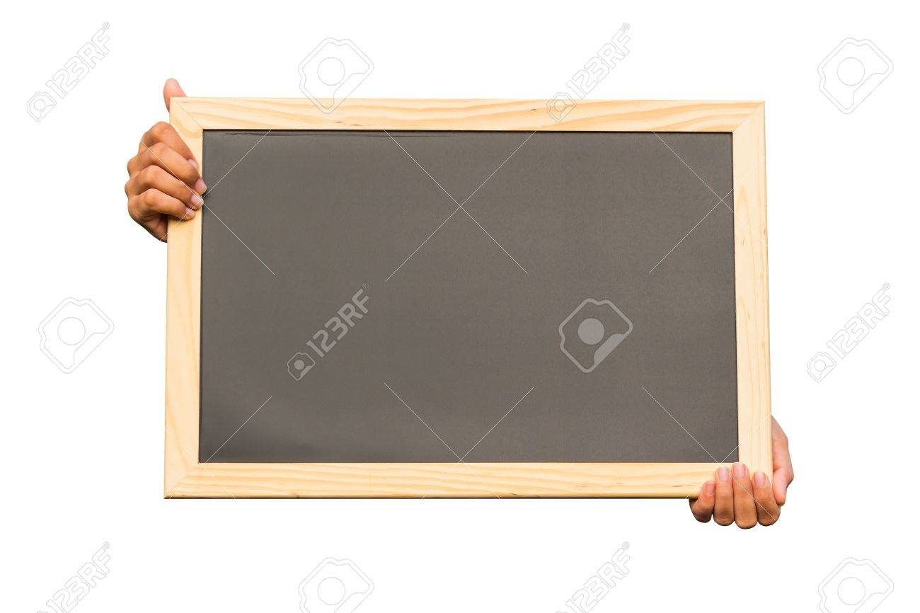Hand holding blank chalkboard on white background, communication concept Stock Photo - 18496622