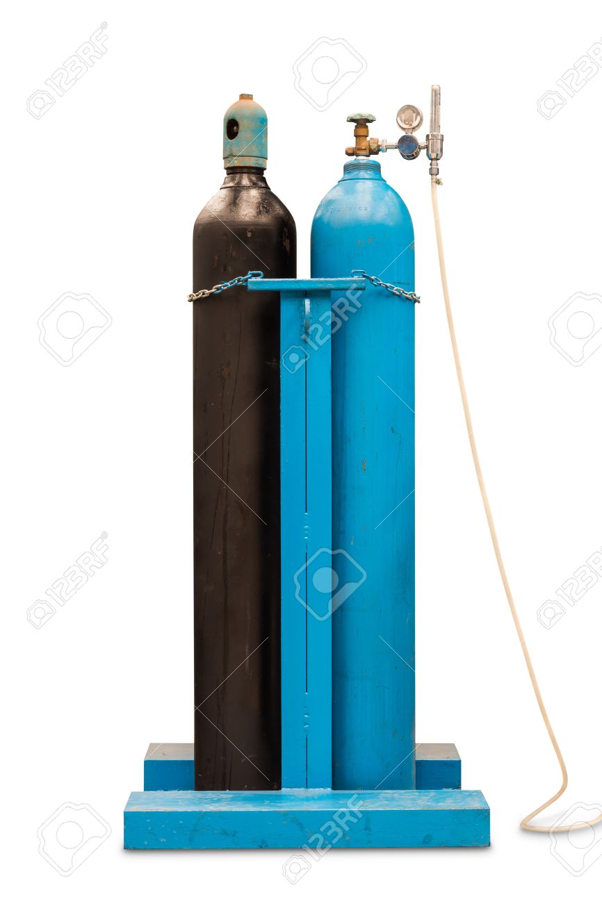Compressed oxygen and compressed acetylene gas steel cylinders