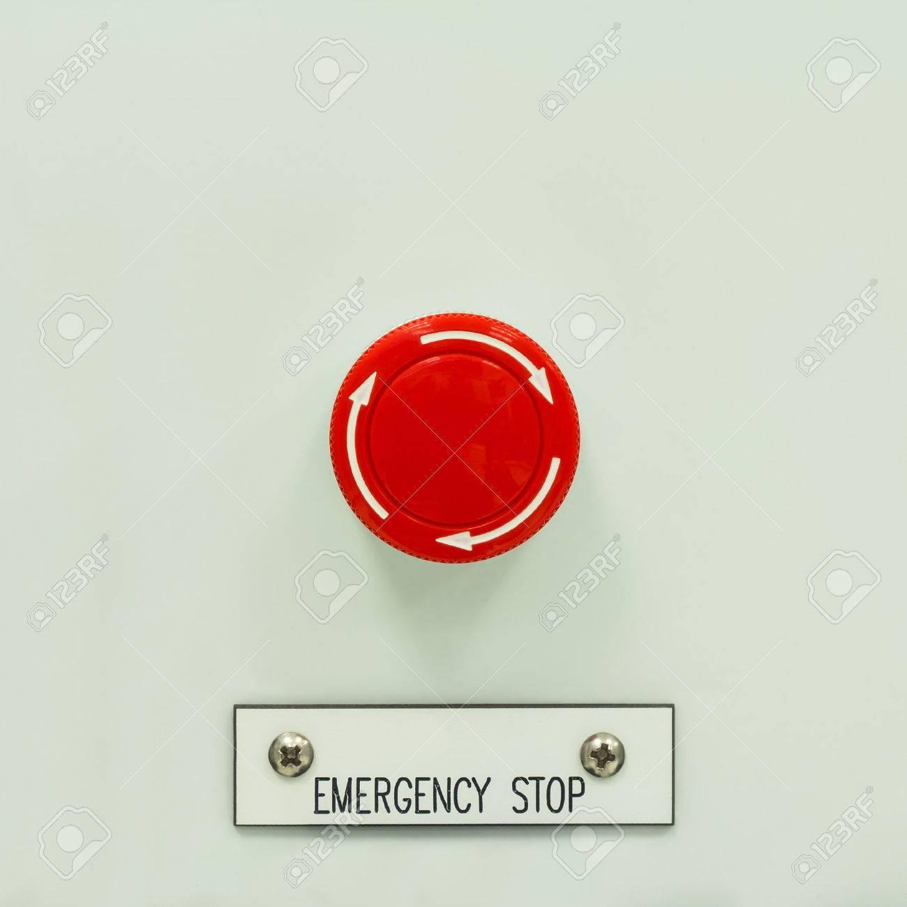 Close Up Von Pilztyp Not-Aus-Druckschalter, Ein Elektrisches Gerät ...
