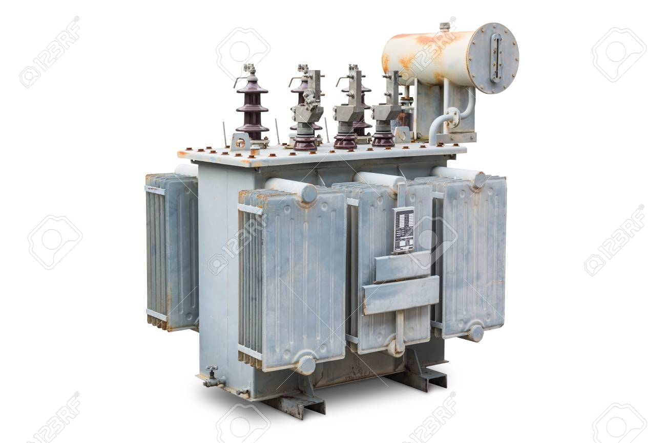 Old three phase open type oil immersed transformer with radiator