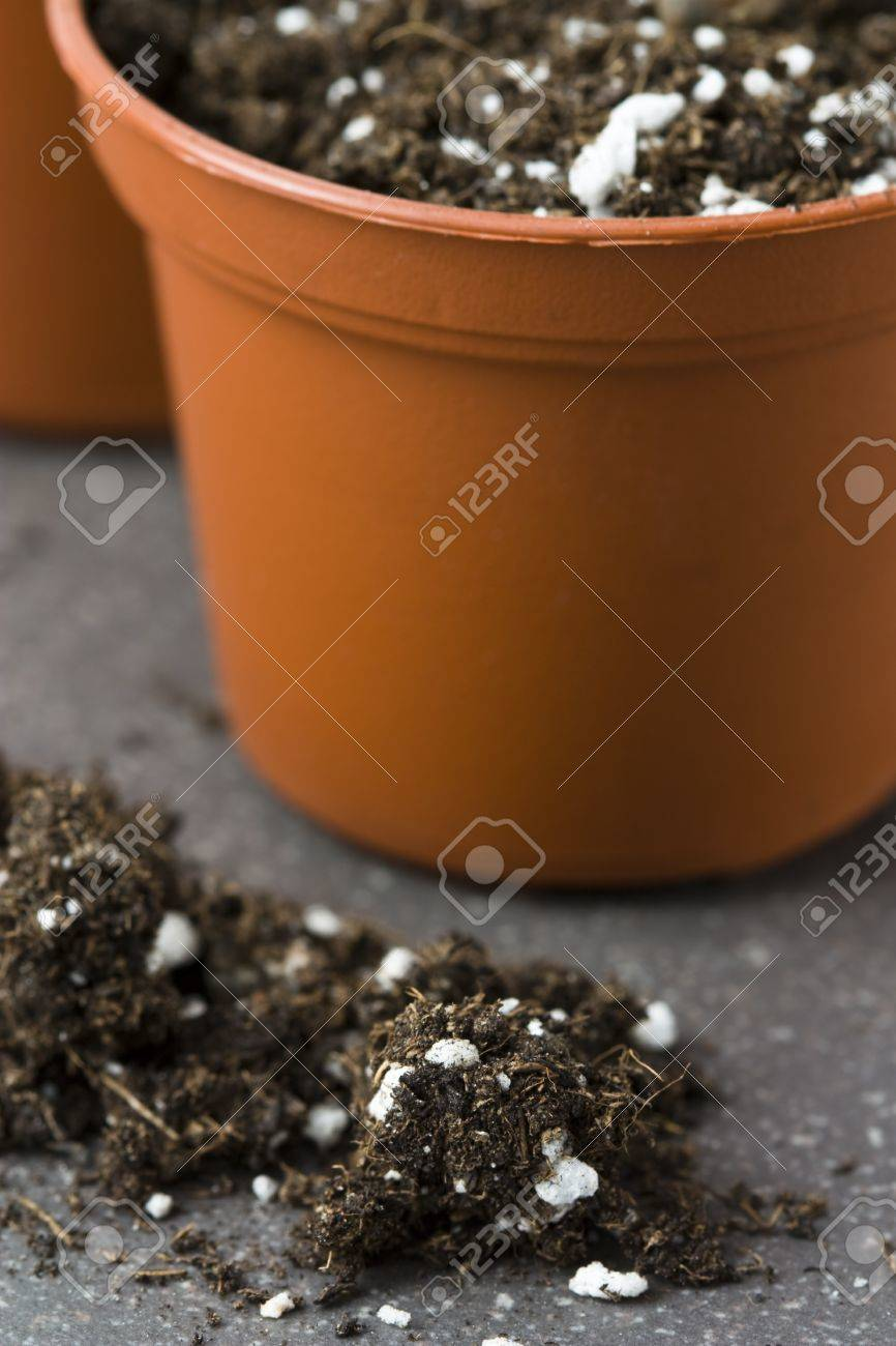 Still Life With Plant Pots, Potting Soil And Grains As Symbol ...