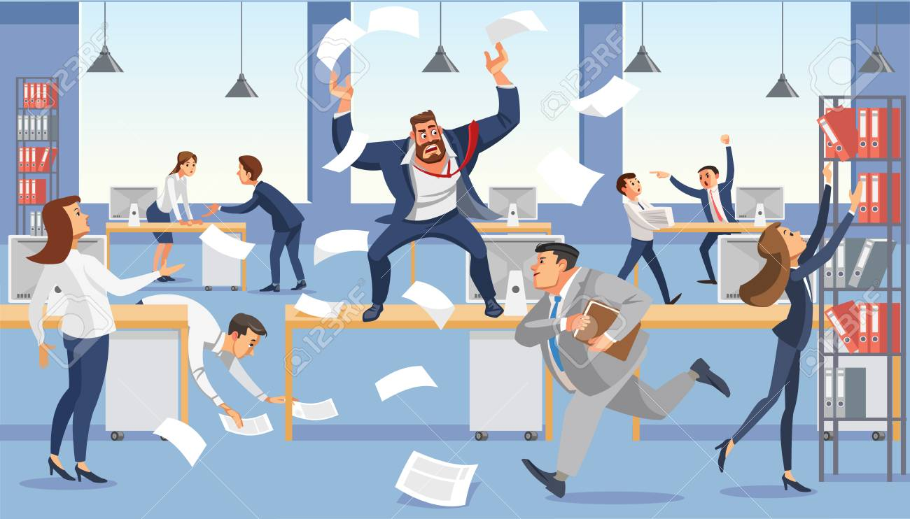 Angry boss shout in chaos office, stressed vector cartoon characters. - 97338069