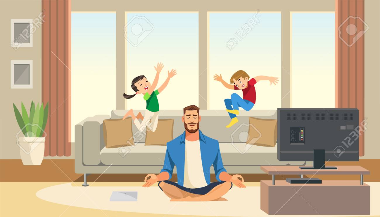 Kids play and jump on sofa behind calm and in meditation father
