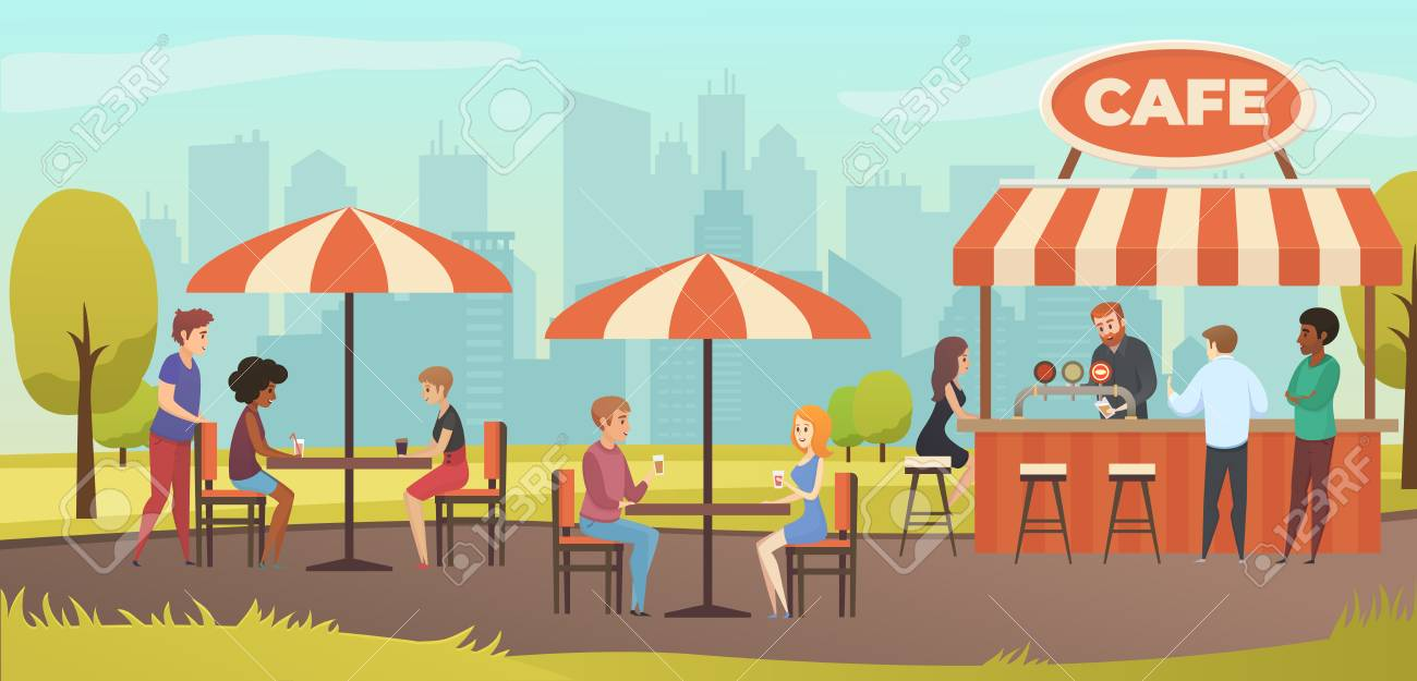 People Drink Coffe In Outdoor Vector Street Cafe On Restaurant Royalty Free Cliparts Vectors And Stock Illustration Image 100016766