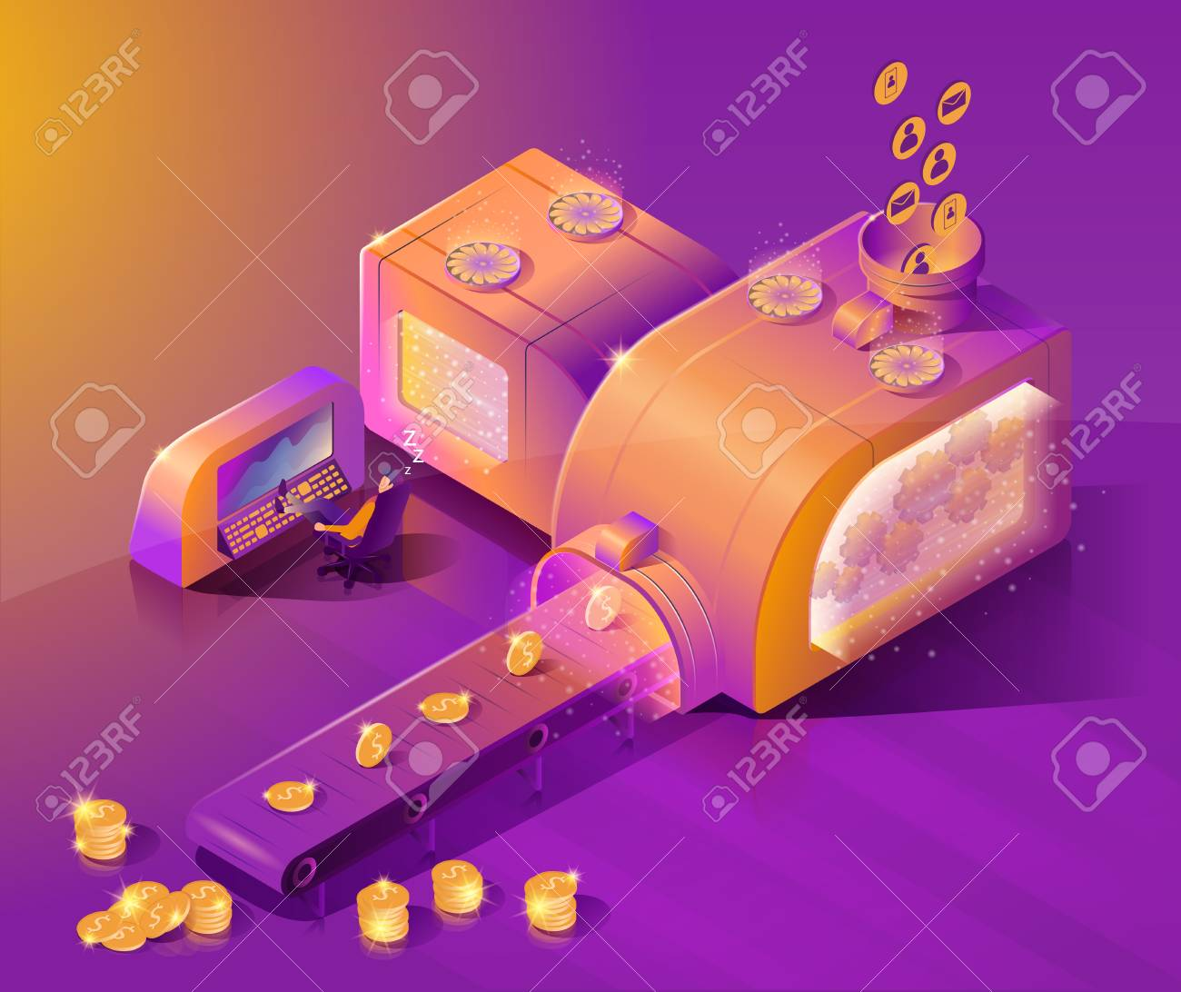 Sales Automation, Optimized Business Cycle Isometric Vector Concept
