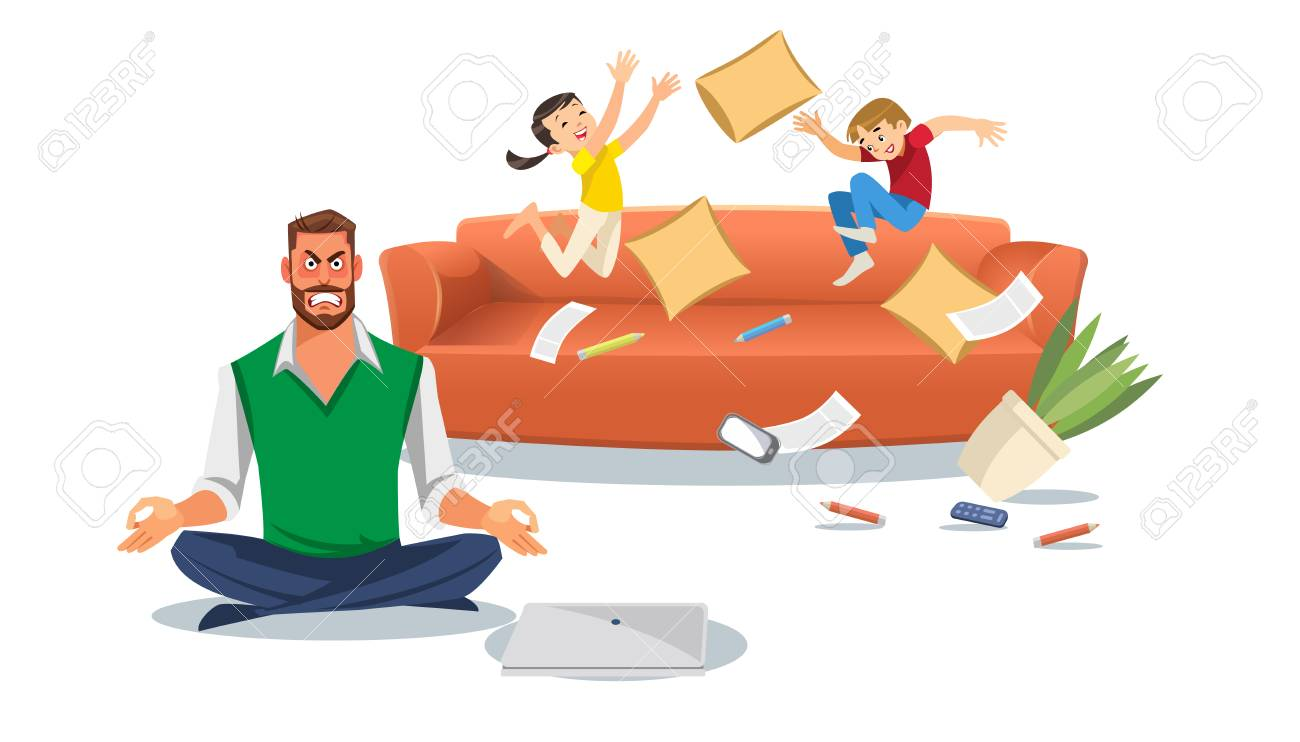 Father in a state of stress with playing children. Home stress concept with cartoon characters isolated white background. Vector illuctration of parent and children at living room. - 111633099