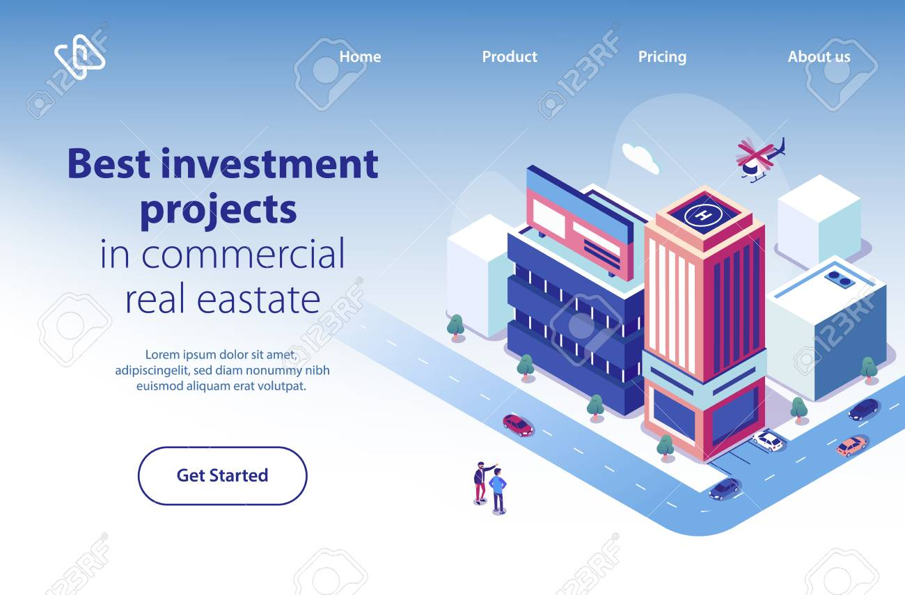 Commercial Real Estate Investment Project Isometric Web Banner Stock Photo Picture And Royalty Free Image Image 117776415