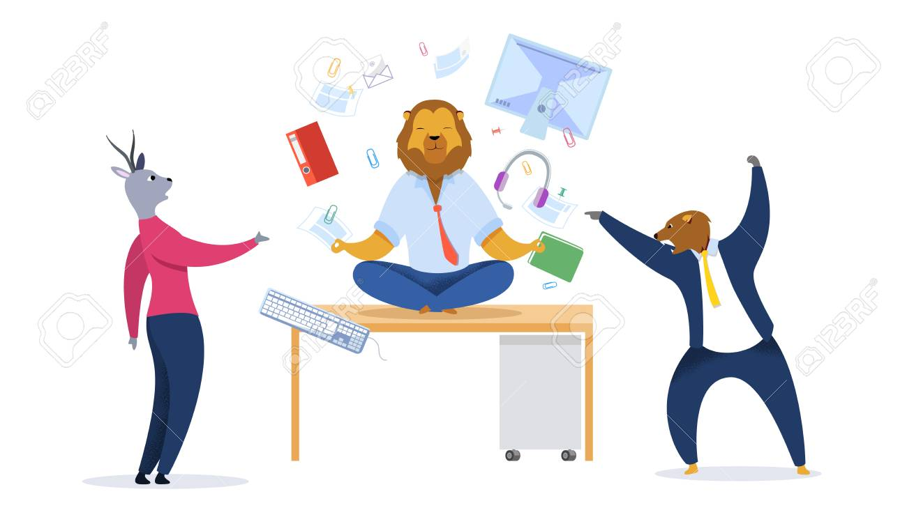 Businessman with Lion Head Meditating Clipart. Metaphor of Office Workers as Animals. Relaxed Businessman in Lotus Position. Calm Predator Oppose to Stressed Employees. Time Management Vector Concept - 117220579
